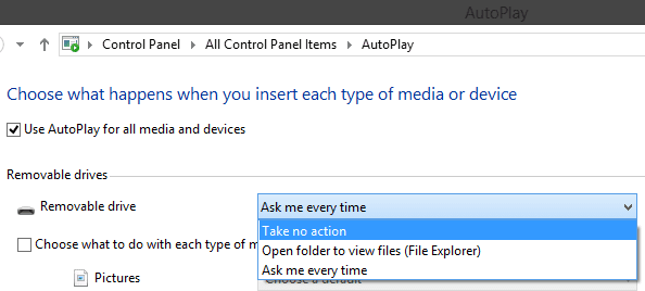 Disable Autoplay from Control Panel