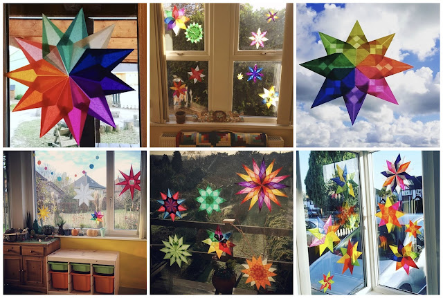 Waldorf paper stars -- inspiration and resources for you to make your own.