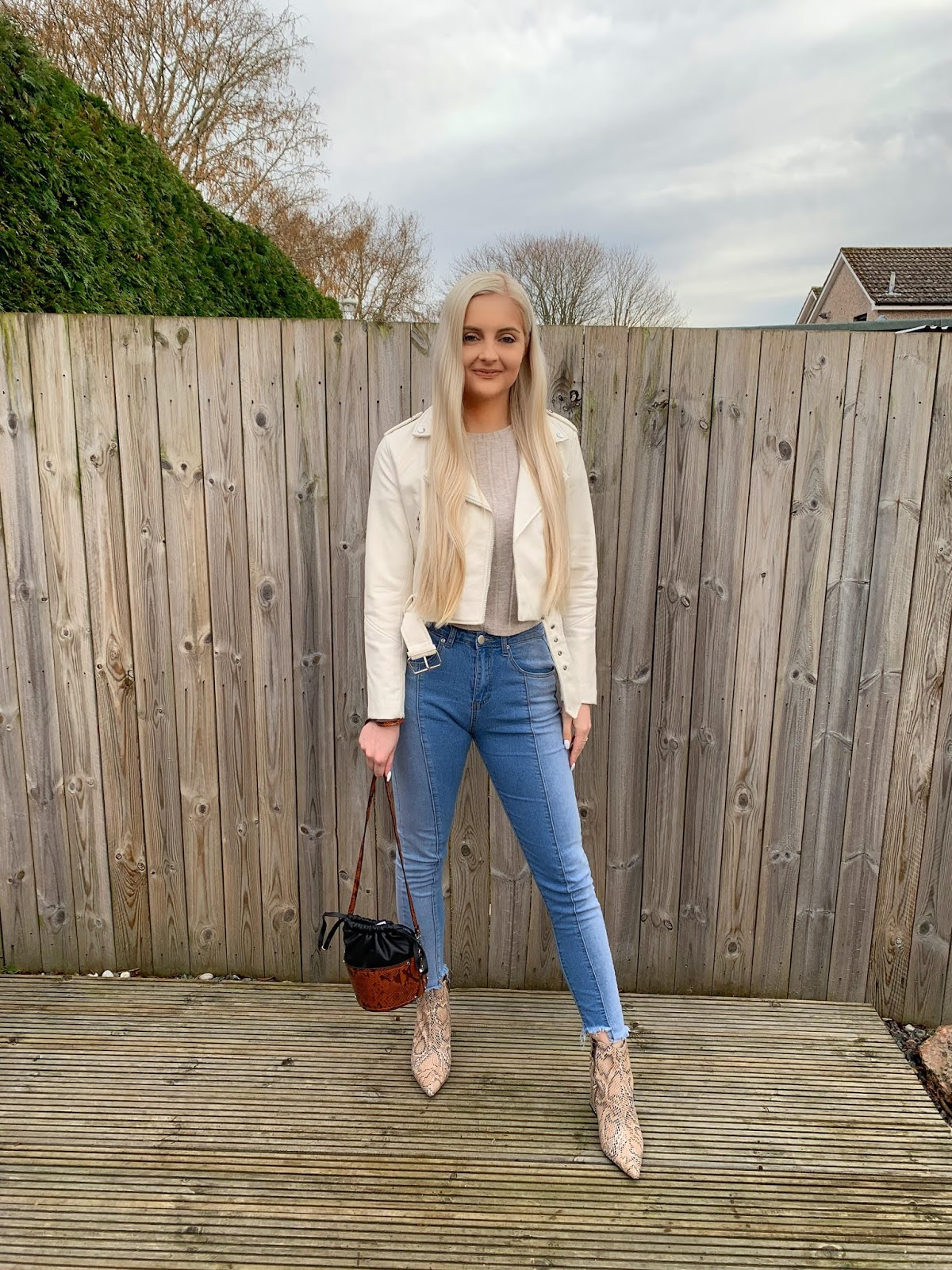 bd8779af74a5 I picked this stunning white leather jacket up from Bershka last summer and  has been a wardrobe staple. Public Desire - Snake-print ankle boots ...