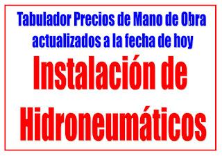Instalación de Hidroneumáticos, precios de mano de obra
