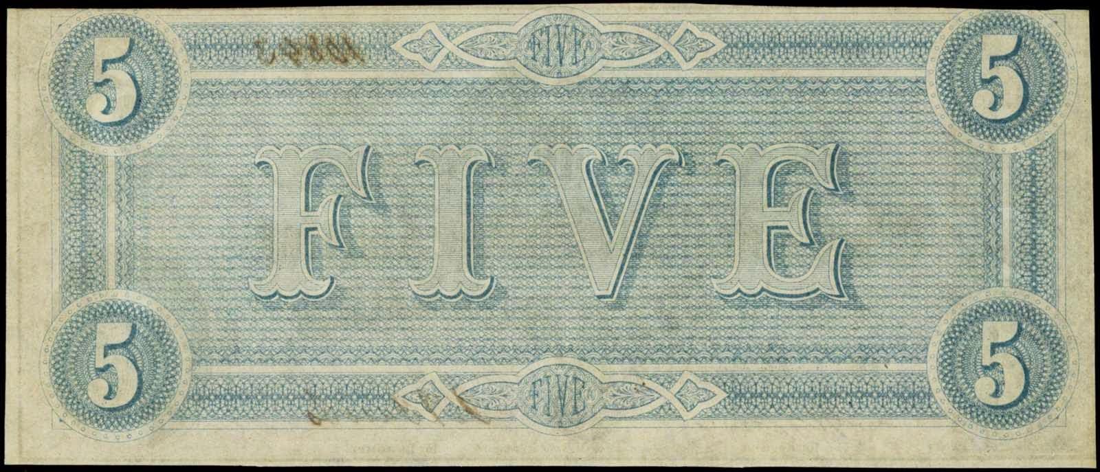 Confederate Paper Money 1864 Five Dollar Bill note
