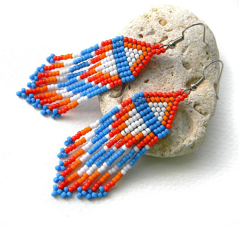 купить Этнические серьги ручной работы из бисера