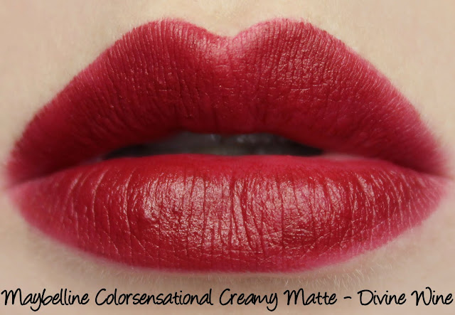 Maybelline Colorsensational Creamy Matte Lipstick - Divine Wine Swatches & Review