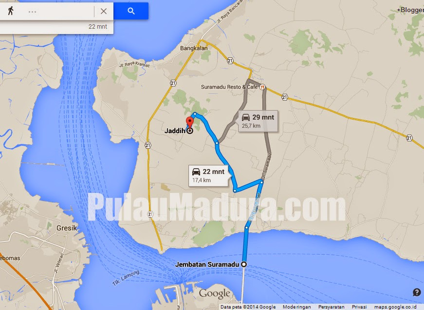 Peta Google Maps Lokasi Pemandian Kolam Renang Desa Jaddih Socah Bangkalan