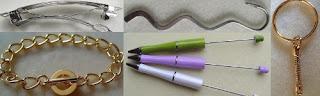 bookmarks, keyrings, pens, bracelets