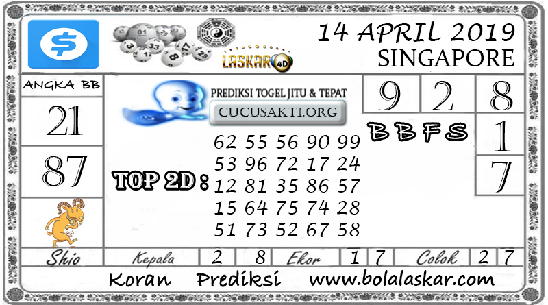 Prediksi Togel SINGAPORE LASKAR4D 14 APRIL 2019