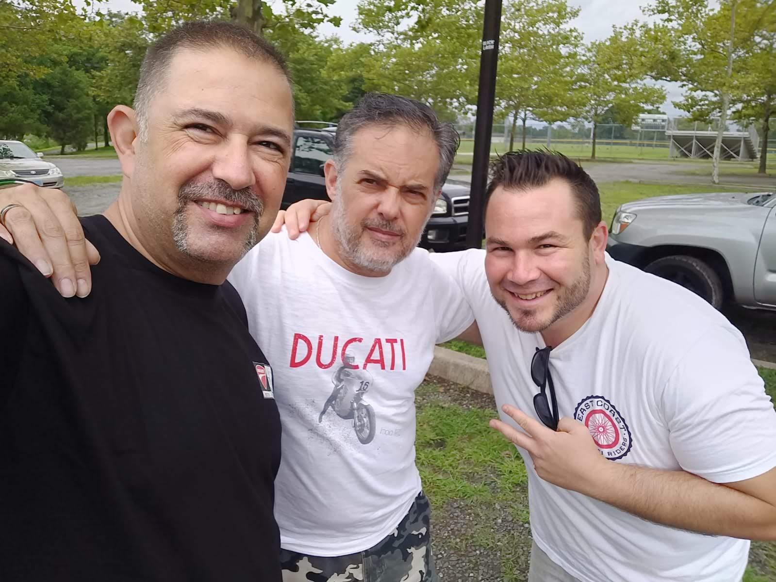 DOCIsrael Daniel, DesmoDucati's Sandro and Tigh Loughhead from Gotham Ducati