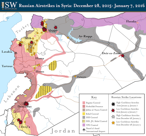 Russian Airstrikes in Syria: December 28, 2015 - January 7, 2016