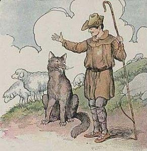 el pastor y el joven lobo