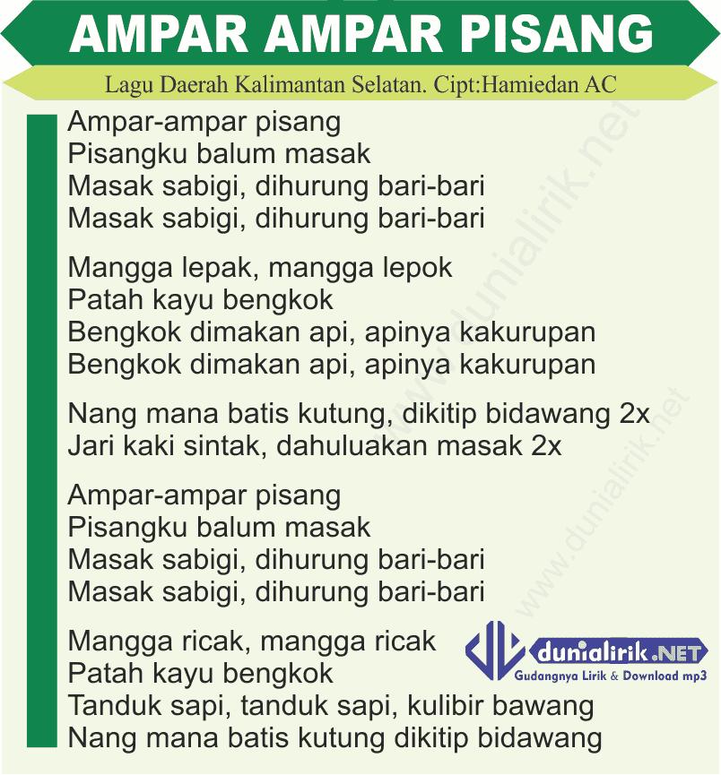 Download Lagu Deen Assalam: Lirik Lagu Ampar Ampar Pisang