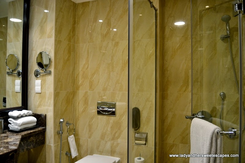 the walk-in shower in a deluxe room at The Ajman Palace