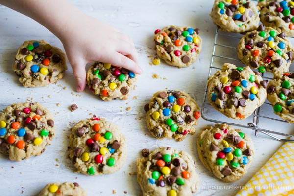 Monster Cookies!  One of the best recipes!  Peanut Butter, Oats, Chocolate Chips and Candy!  |  mynameissnickerdoodle.com