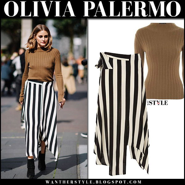 87b92e22c809 Olivia Palermo in brown khaki knit sweater and black and white striped skirt  topshop london fashion