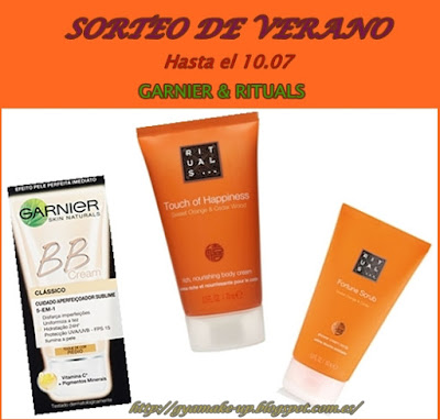 Sorteo de Verano Garnier, Rituals , BB Cream, Crema corporal ,Exfoliante