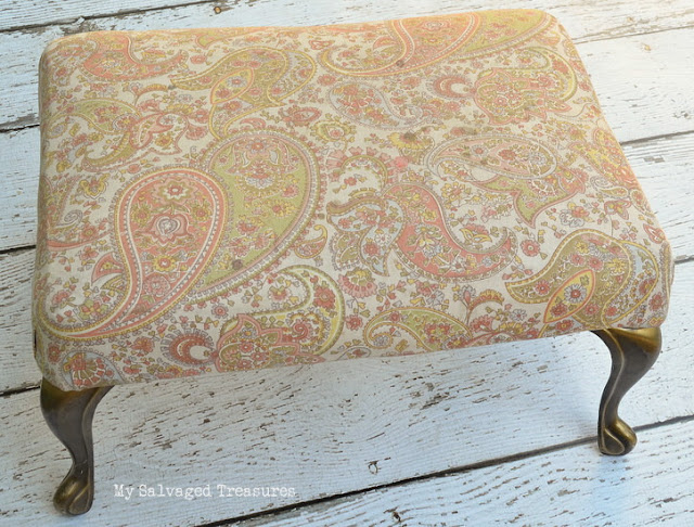 vintage flea market footstool before picture