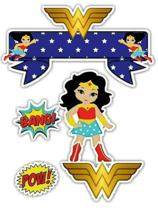Toppers de la Mujer Maravilla para Pasteles o Tartas, para Imprimir Gratis.