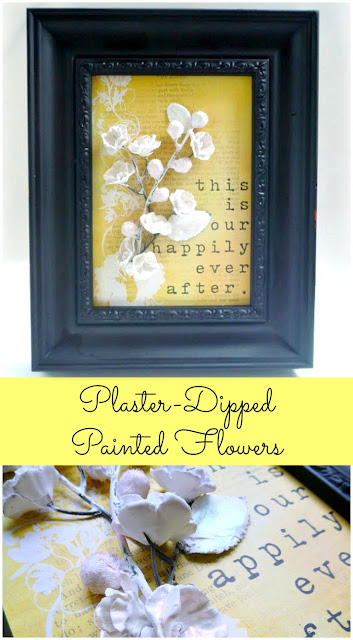 Painted Plaster Dipped Flower Framed Decor Tutorial by Dana Tatar