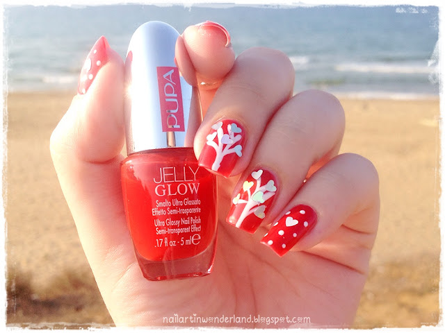 Twinsie Tuesday: Romantic Nails | Tree of Love Nail Art for Valentine's Day
