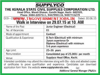 Walk in Interview for Junior Electrical Engineer Vacancy in Supplyco Kerala