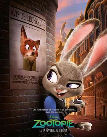 Zootopia 2016 Hindi Dual Audio 500MB BluRay 720p ESubs HEVC
