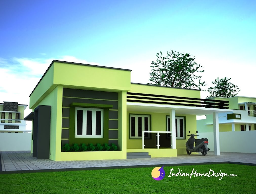 Small single floor simple home design by niyas indian for One floor house exterior design