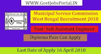 West Bengal Municipal Service Commission Recruitment 2018– 57 Sub Assistant Engineer