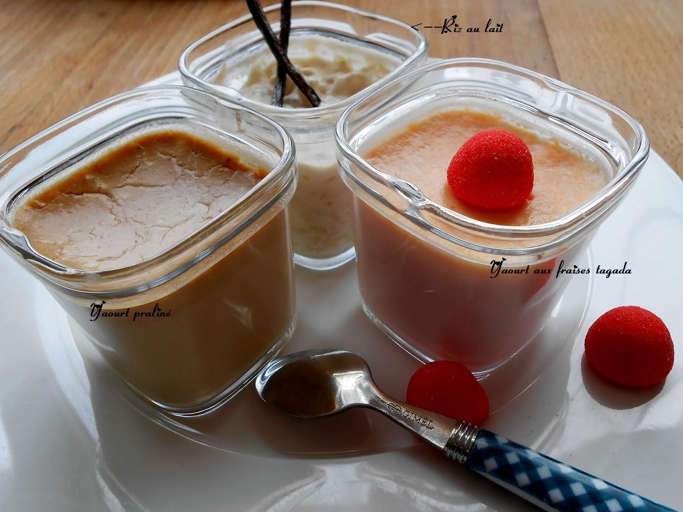 Ci dessus, Yaourt praliné, riz au lait et yaourt aux fraises Tagada.