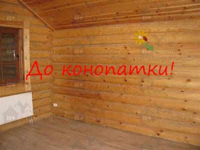 Внутренняя конопатка и монтаж каната в срубе в районе Всеволожска.
