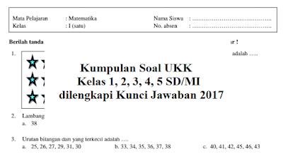Kumpulan Soal UKK Kelas 1, 2, 3, 4, 5 SD/MI dilengkapi Kunci Jawaban 2017