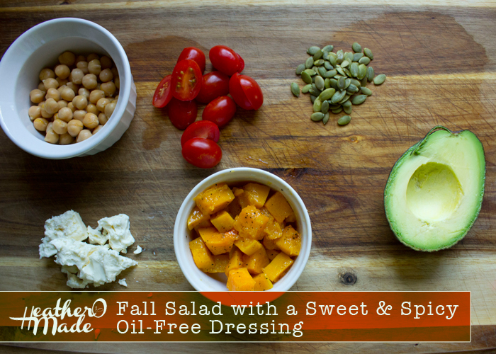 Fall Salad with a Sweet & Spicy  Oil-Free Dressing recipe