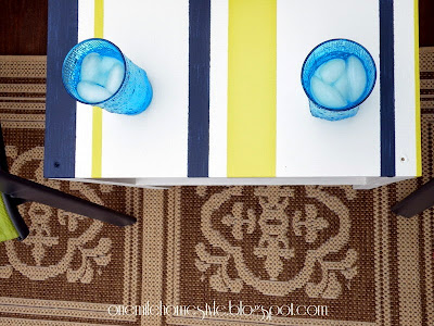 Simple DIY Navy, White and Citron Outdoor Table