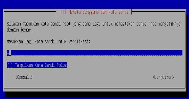 Instalasi Debian - Memasukan ulang sandi root