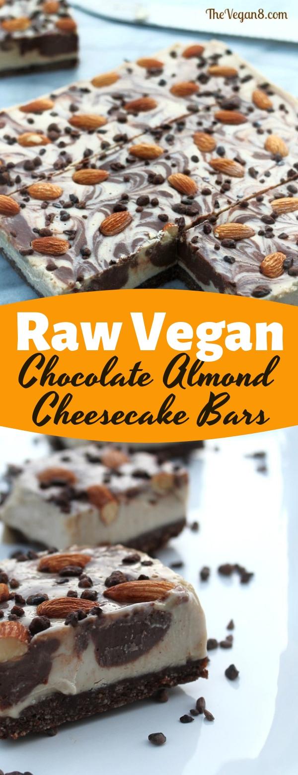 Raw Vegan Chocolate Almond Cheesecake Bars #vegan #chocolate