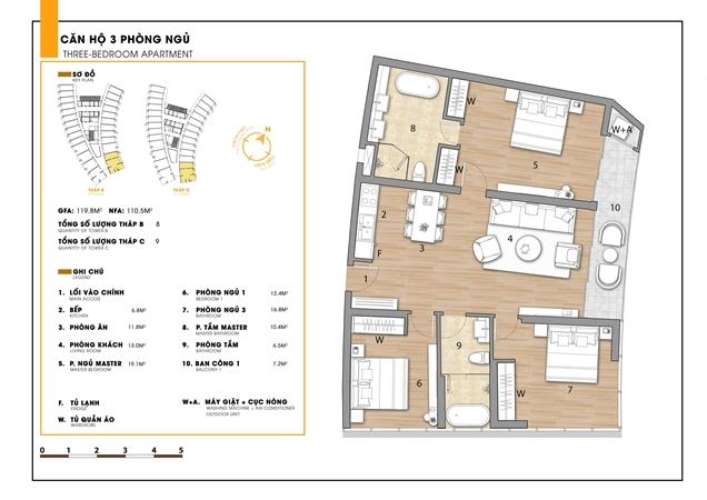 Mặt bằng 3 phòng ngủ dự án căn hộ Sunbay Park Hotel Ninh Thuận