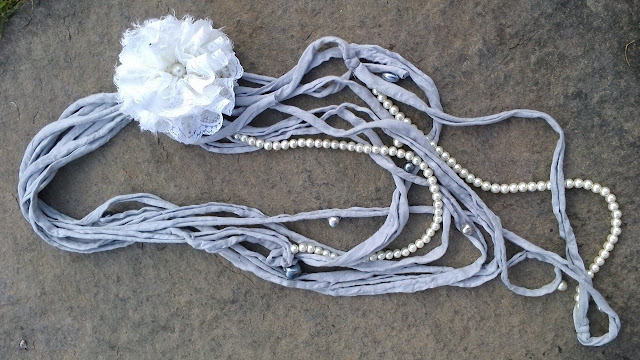 shabby grey fabric necklace and flower