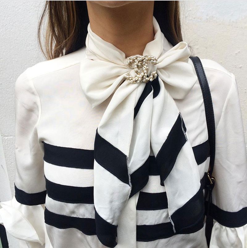chanel brooch + blouse with bow black and white{Cool Chic Style Fashion}