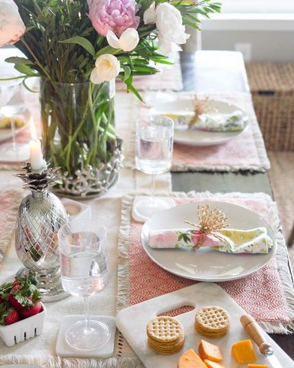 pink table setting for summer