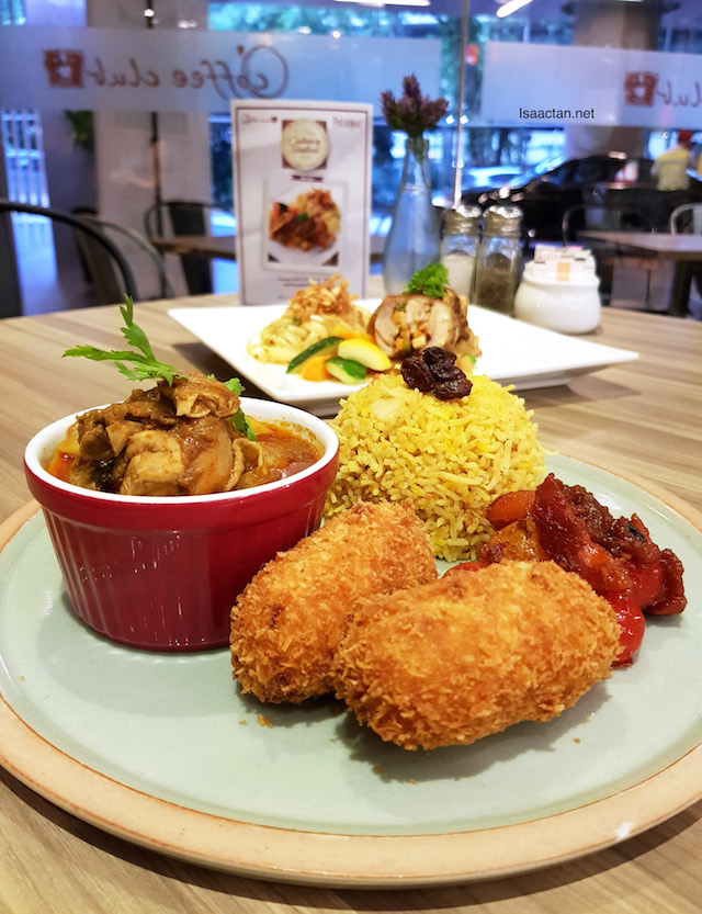 U.S. Potato Curry Spice Rice with Chicken Masala and U.S. Potato Croquettes - RM24+