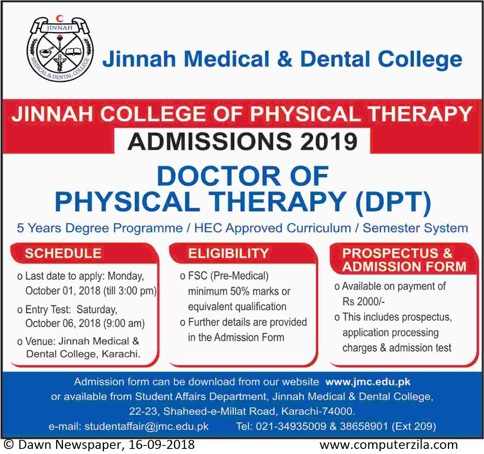 Admissions Open For Spring 2019 At JMDC Karachi Campus