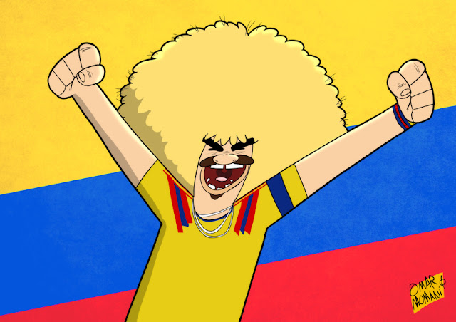 Carlos Valderrama cartoon caricature