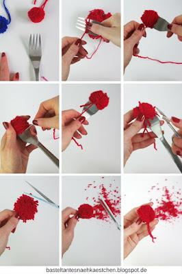 Collage Pompoms (Bommel) mit einer Gabel selber mache