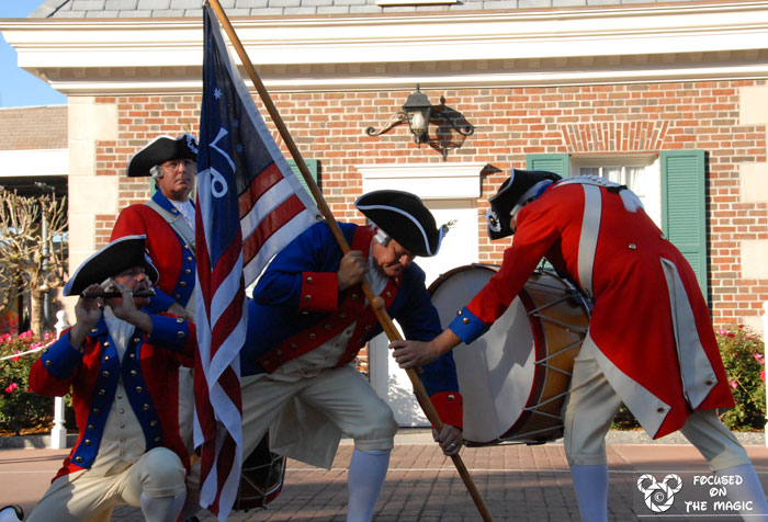 Spirit of America Fife & Drum Corps at Epcot's American Adventure striking a pose