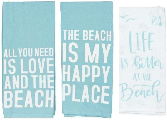 Beach Quote Kitchen Towels - All you Need is Love and the Beach