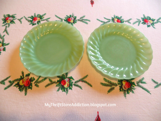 Friday's Find: A Snowman Tea for Two mythriftstoreaddiction.blogspot.com A snowman tea party tablescape created with thrifted finds like jadeite plates