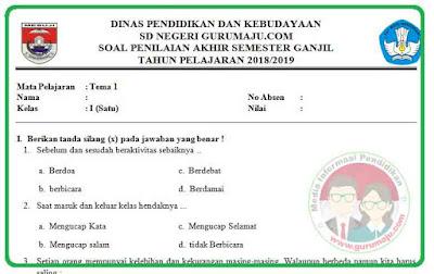 Soal UAS / PAS Kelas 1 Tema 1 Kurikulum 2013 Revisi 2018