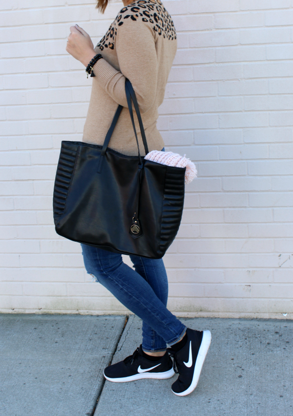 leopard sweater, black bag, mom style