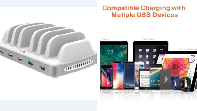 Charging Station with QC 3.0 Fast Multiple Devices