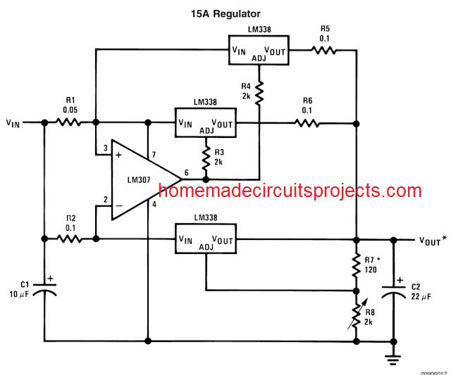 15 amp regulator circuit using IC LM338