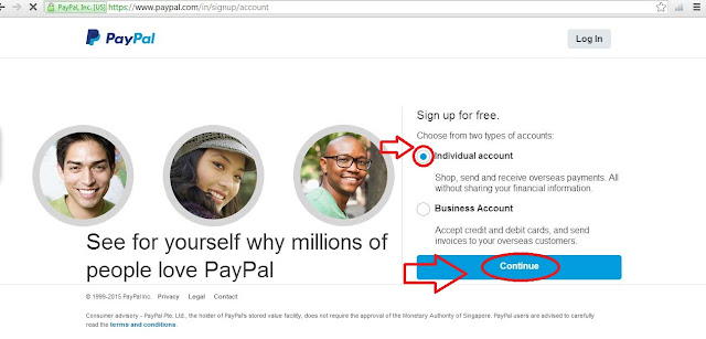 Paypal, Create Account