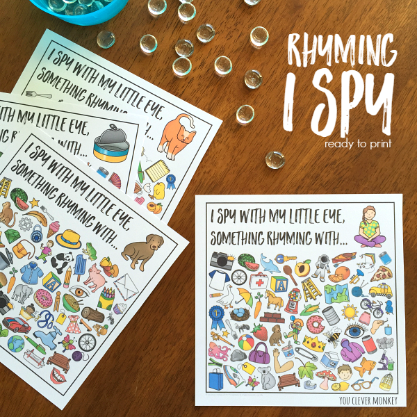 Rhyming I Spy  Cards - ready to print, these beautifully made rhyming I Spy cards are the perfect addition to your literacy centers or Daily 5 Word Work | you clever monkey